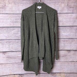 Lou & Grey Alpaca Blend Olive Cardigan Sweater